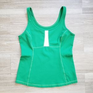 Lululemon Fitted Tank Top Green & White